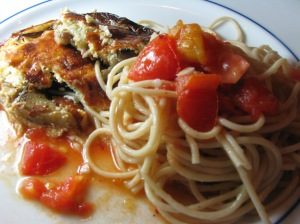 Eggplant Gratin with spaghetti and chunky heirloom tomato sauce