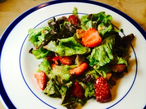 chopped strawberry salad in poppyseed dressing
